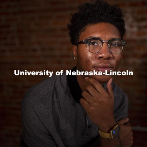 Elijah Merritt, a sophomore from Omaha, is the president of Brother2Brother. He shares his coping skills, and perspectives on an unusual year in an Asked and Answered interview. November 10, 2020. Photo by Craig Chandler / University Communication.