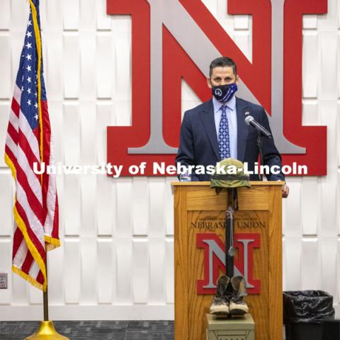 Joe Brownell, Director of the Military and Veteran Success Center, begins the roll call by reading the names of Nebraskans killed in World War 1. Volunteers read the names of nearly 5,000 Nebraskans who have perished in wars since World War I. The University of Nebraska–Lincoln joined campuses nationwide in a moment of silence at 1 p.m. on Veterans Day, to honor American men and women who died in service to their country. The moment of silence is part of National Roll Call 2020, a Veterans Day remembrance. This year, ROTC also did a POW/MIA ceremony before the National Roll Call. November 11, 2020. Photo by Craig Chandler / University Communication.