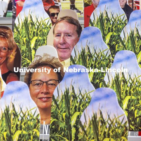 You can't have Cornhuskers without corn. More than 6,000 corrugated plastic cutouts fill the lower level of east stadium, the tunnel walk, and part of north stadium to remind the Huskers who has the Greatest Fans in College Football. November 12, 2020. Photo by Craig Chandler / University Communication.