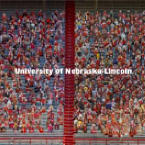 This composite image shows the more than 6,000 corrugated plastic cutout of Husker fans that fill the lower level of East Stadium. The composite removes the 3 middle sections of East Stadium bleachers that are empty and await family and friends who can attend the game. November 12, 2020. Photo by Craig Chandler / University Communication.