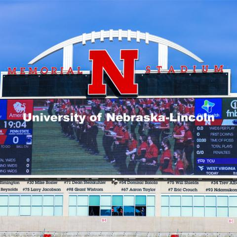 With no one in attendance except for family of the players and staff, the Cornhusker Marching Band's pregame was recorded last month and played over the scoreboard and speakers. Nebraska v. Penn State football.  November 14, 2020.  Photo by Craig Chandler / University Communication.