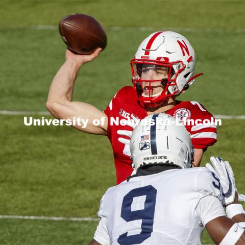 Luke McCaffrey passes in the first quarter. Nebraska v. Penn State football. November 14, 2020. Photo by Craig Chandler / University Communication.