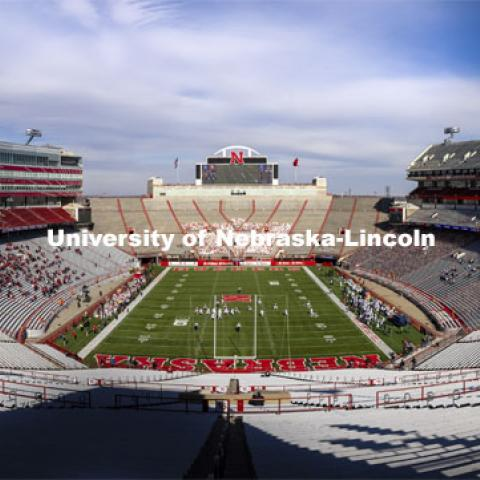 Interior shot of Memorial Stadium looking north toward the Jumbotron. Nebraska v. Penn State football. November 14, 2020. Photo by Craig Chandler / University Communication.
