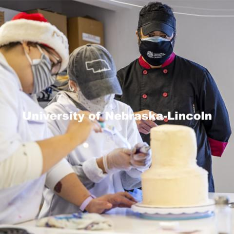 Students in Ajai V. Ammachathram's Catering Management course prepared a wedding feast as the final project for the semester.  November 18, 2020.  Photo by Craig Chandler / University Communication.