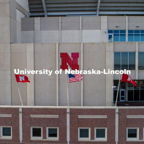 Flags on the East Stadium. American and Husker flags. December 1, 2020. Photo by Craig Chandler / University Communication.