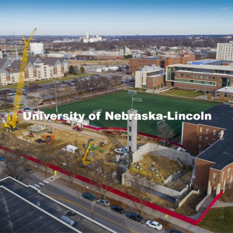 Work continues on the construction of the new CEHS structure to replace Mabel Lee Hall. December 1, 2020. Photo by Craig Chandler / University Communication.