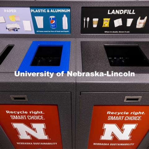 The Office of Sustainability is installing the new recycling stations in eight pilot buildings on all three campuses during break. December 1, 2020. Photo by Craig Chandler / University Communication.
