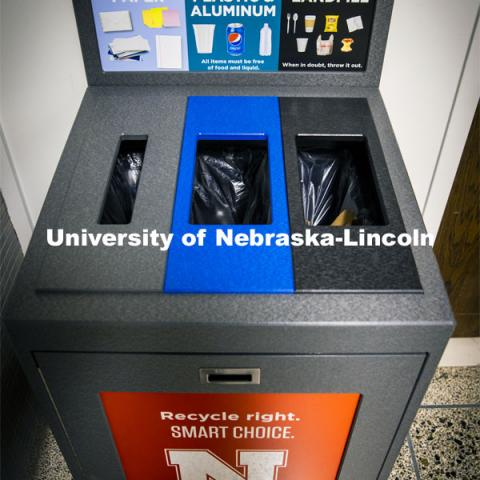 The Office of Sustainability installed the new recycling stations. City Campus. December 2, 2020. Photo by Craig Chandler / University Communication