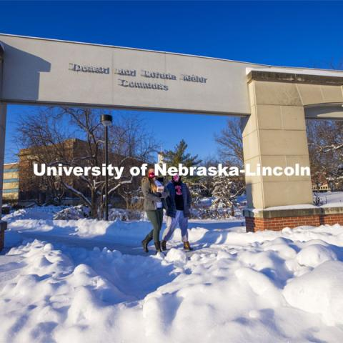 "Students met the first day of classes for spring semester with the campus covered in deep snow after a record-setting snowfall caused a two-day delay in the start of the ""spring"" semester. January 27, 2021. Photo by Craig Chandler / University Communication."