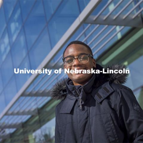 "Jared Oney, a first-year student from Aurora, Colorado, chose the University of Nebraska–Lincoln after receiving scholarship support. ""(The scholarship) made me feel appreciated as a student,"" he said.  Pictured in front of Hawks Hall. February 9, 2021. Photo by Craig Chandler / University Communication"