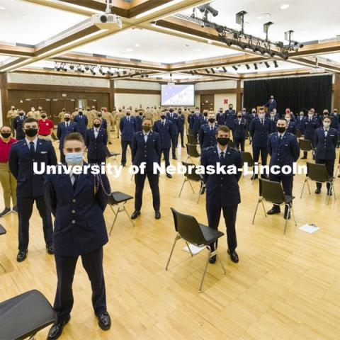 President Ted Carter addresses the Air Force and Navy ROTC Cadets in the Union's Centennial Hall. March 4, 2021. Photo by Craig Chandler / University Communication.