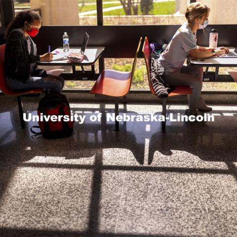 Gabriella Silva (red mask) and Zoe Keese (white mask) study at the tables in the sun lit lobby inside Hamilton Hall. March 30, 2021. Photo by Craig Chandler / University Communication.