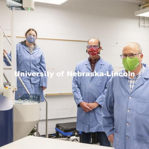 Michelle Takacs, Pat Dussault, and Dan Draney in Chemistry's Research Instrumentation Facility in Hamilton Hall. April 6, 2021. Photo by Craig Chandler / University Communication.